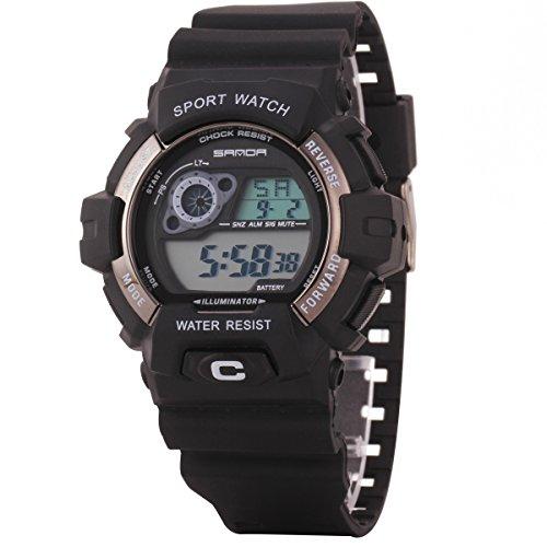 Uniqueen Armbanduhr Multifunktional LED Digitaluhr Klassisch Sportuhr Bergsteigen Silikon Wasserdicht B56 310 schwarz grau
