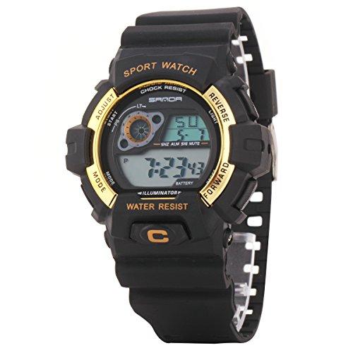 Uniqueen Armbanduhr Multifunktional LED Digitaluhr Klassisch Sportuhr Bergsteigen Silikon Wasserdicht B56 310 schwarz gold