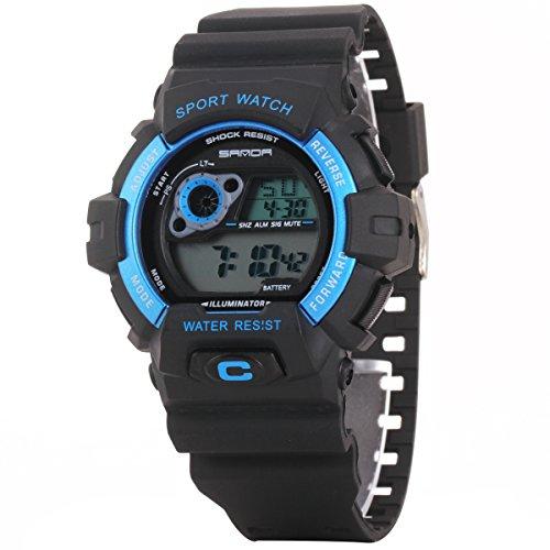 Uniqueen Armbanduhr Multifunktional LED Digitaluhr Klassisch Sportuhr Bergsteigen Silikon Wasserdicht B56 310 schwarz blau
