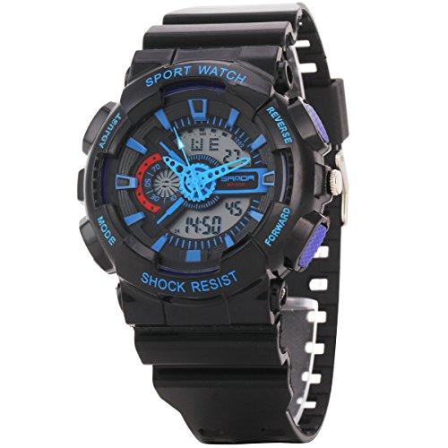 Uniqueen Armbanduhr Multifunktional LED Digitaluhr Klassisch Sportuhr Silikon Militaer stossfest Wasserdicht B56 299 OEberflaeche blau Armband schwarz