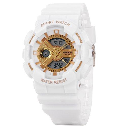 Uniqueen Armbanduhr Multifunktional LED Digitaluhr Klassisch Sportuhr Silikon Militaer stossfest Wasserdicht B56 299 OEberflaeche gold Armband weiss