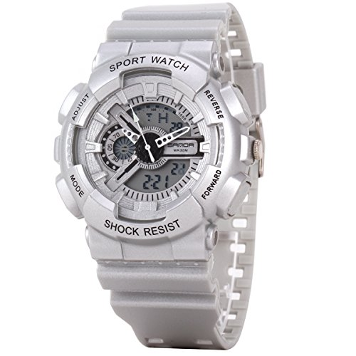 Uniqueen Armbanduhr Multifunktional LED Digitaluhr Klassisch Sportuhr Silikon Militaer stossfest Wasserdicht B56 299 OEberflaeche silber Armband silber