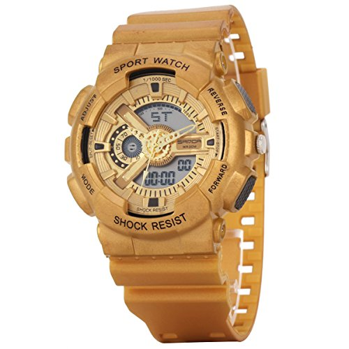 Uniqueen Armbanduhr Multifunktional LED Digitaluhr Klassisch Sportuhr Silikon Militaer stossfest Wasserdicht B56 299 OEberflaeche gold Armband gold