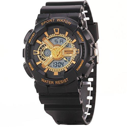 Uniqueen Armbanduhr Multifunktional LED Digitaluhr Klassisch Sportuhr Silikon Militaer stossfest Wasserdicht B56 299 OEberflaeche gold Armband schwarz