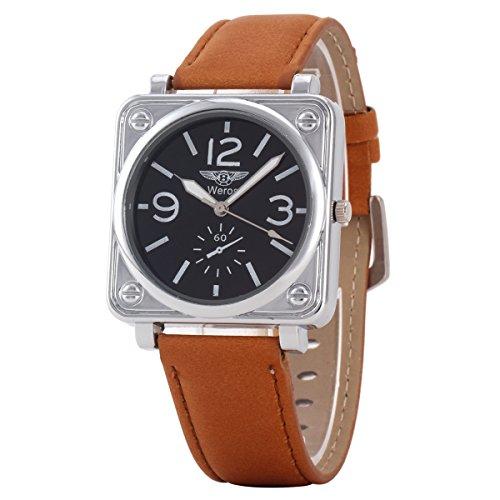 Uniqueen Mode Armbanduhr B3 WR quadratisch Chronograph Quarzuhr Leder Armband braun