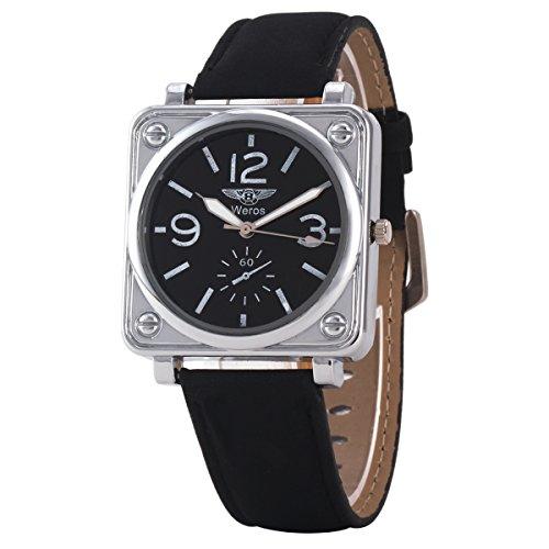Uniqueen Mode Armbanduhr B3 WR quadratisch Chronograph Quarzuhr Leder Armband schwarz