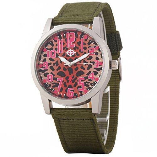 Uniqueen Mode Armbanduhr B3 102 Analog Quarzuhr Segeltuch Oberflaeche rot Armband gruen