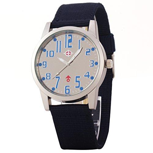 Uniqueen Mode Armbanduhr B3 102 Analog Quarzuhr Segeltuch Oberflaeche weiss Armband schwarz