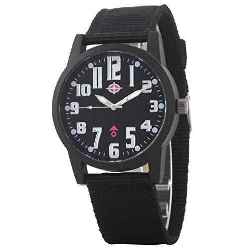 Uniqueen Mode Armbanduhr B3 102 Analog Quarzuhr Segeltuch Oberflaeche schwarz Armband schwarz