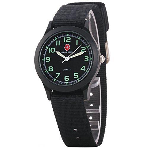 Uniqueen Mode Armbanduhr B3 103 Analog Quarzuhr Segeltuch schwarz