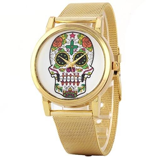 Uniqueen Mode Armbanduhr B3 100 Skelettkopf Quarzuhr Edelstahl gold