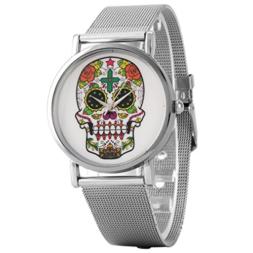 Uniqueen Mode Armbanduhr B3 100 Skelettkopf Quarzuhr Edelstahl silber