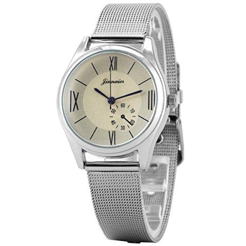 Uniqueen Mode Damen Armbanduhr B3 101 Analog roemische Quarzuhr Edestahl silber