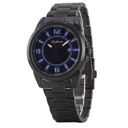 Uniqueen Mode Herren Armbanduhr Kalender Analog Quarzuhr Edestahl A7 TM 1932 Oberflaeche schwarz blau Armband schwarz