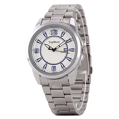 Uniqueen Mode Herren Armbanduhr Kalender Analog Quarzuhr Edestahl A7 TM 1932 Oberflaeche weiss blau Armband silber