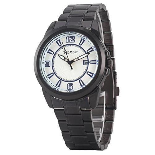 Uniqueen Mode Herren Armbanduhr Kalender Analog Quarzuhr Edestahl A7 TM 1932 Oberflaeche weiss blau Armband schwarz