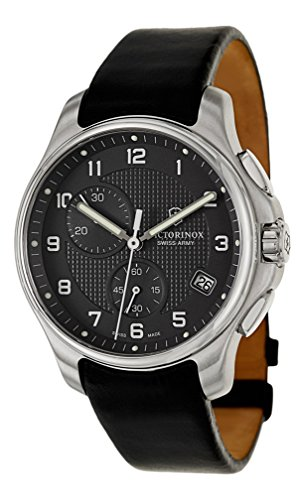 Swiss Army Classic Officers Chronograph GMT Stainless Steel Mens Strap Watch Black Dial 241552