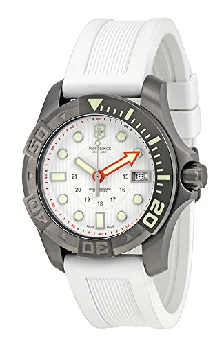Swiss Army Dive Master 500 Quartz Black PVD Steel Mens Watch Calendar White Strap 241559