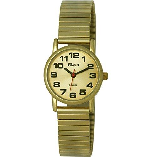 Ravel R0208052S Damen einfach abzulesen mit erweiterbarem Band goldfarbenem Zifferblatt Analog Anzeige und vergoldetem Edelstahl Armband