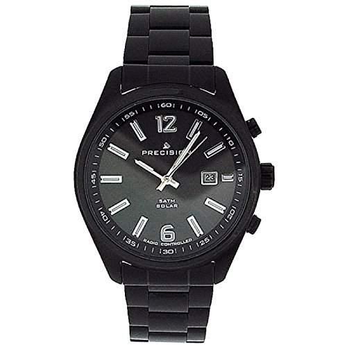PRECISION PREW1107 Funkgesteuerte, solarbetriebene Herrenarmbanduhr mit schwarz ueberzogenem Armband