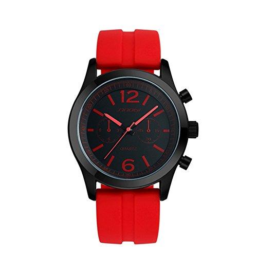 SINOBI rot Sport Quarz Armbanduhr Uhren Herren Silikon Armbanduhr Man Teenage Jungen Uhren