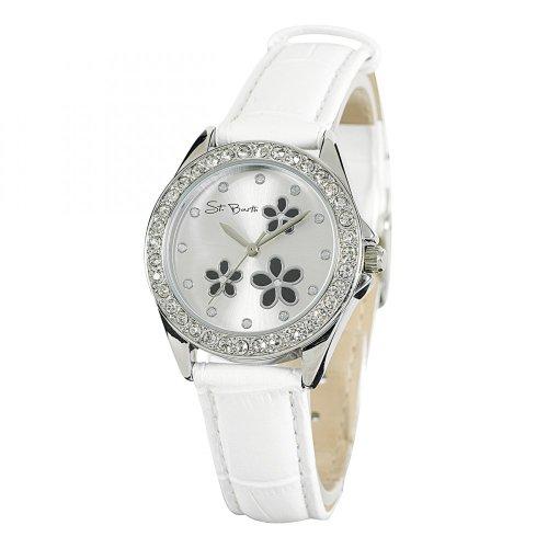 St Barth Trendy Analog Quarz Kunststoffband Weiss Silber mit Strass SLA 90592 43L