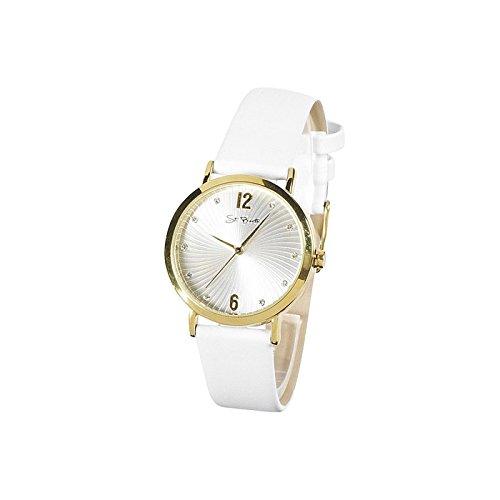 St Barth Quarz Gold Silber Lederband Weiss SLA 91001 14L
