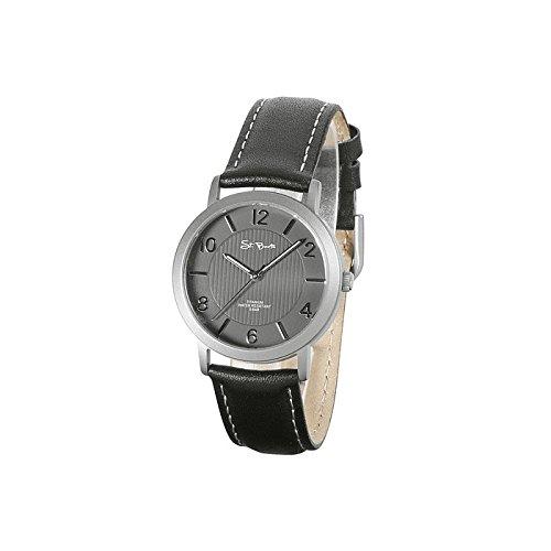 St Barth Titan Quarz Schwarz Silber Lederband Schwarz SLT 50339 22L