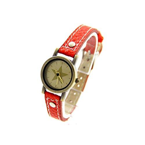 Zeigt Damen Leder Fantasie Rot Vintage 1256
