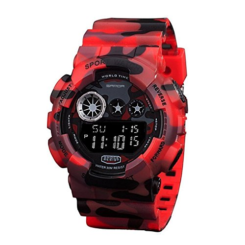 Sanda Quarz Armbanduhr 50 m wasserfest digitales Display Camouflage Design Rot