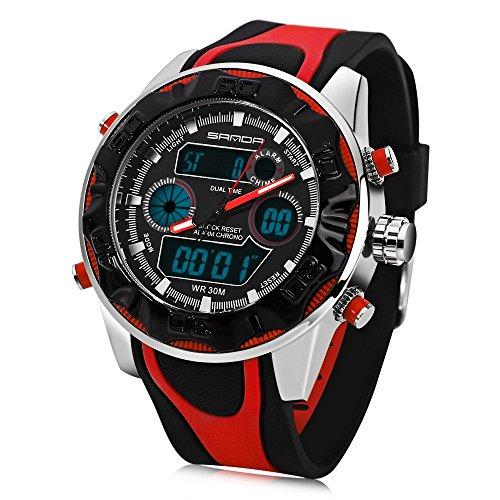 Leopard Shop Sanda 702 Outdoor Sport Dual Movt Multifunktionelles LED Militaer Armbanduhr wasserabweisend rot