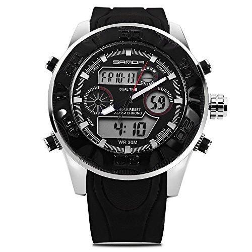 Leopard Shop Sanda 702 Outdoor Sport Dual Movt Multifunktionelles LED Militaer Armbanduhr wasserabweisend schwarz