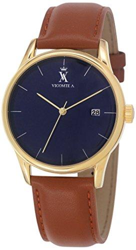 Vicomte A VA 022 1GV Armbanduhr Quarz analog blaues Zifferblatt Armband Leder Braun