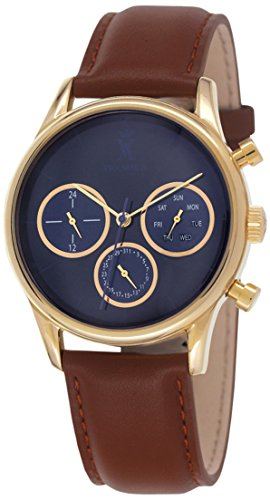 Vicomte A VA 023 1CV Armbanduhr Quarz analog blaues Zifferblatt Armband Leder Braun