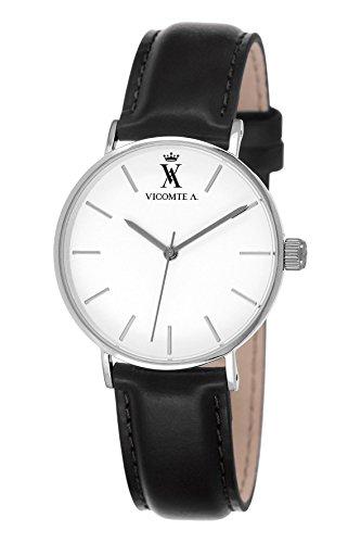 A Vicomte VA 020 BA Herren Uhr Quarz analog Leder Schwarz