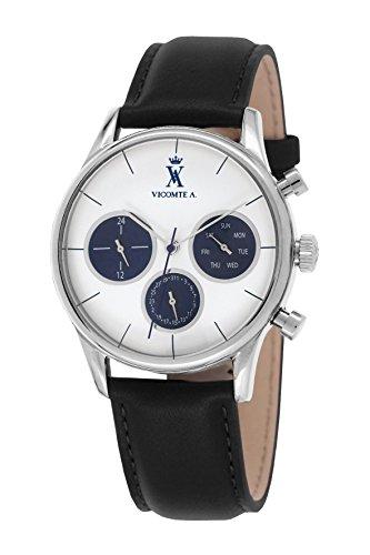 A Vicomte VA 023 BA Herren Uhr Quarz analog Leder Schwarz