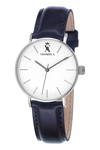 A Vicomte 020 VA BG Herren Uhr Quarz analog Leder Marineblau