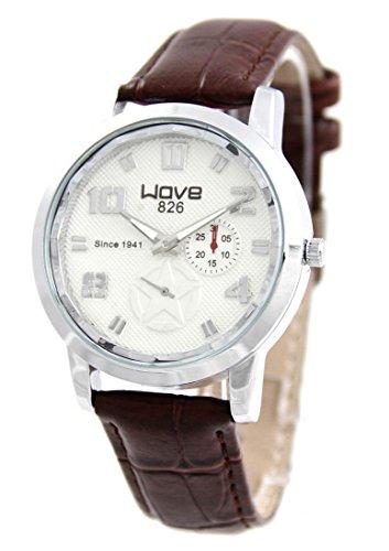 Armbanduhr mit Leder braun Wave 158