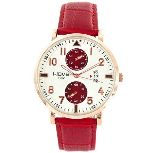 Wave zeigt Herren Armbanduhr Leder Rot Wave Chrono 1656