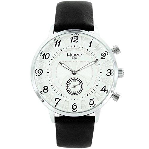 Wave zeigt Herren Armbanduhr Leder Schwarz Wave 1753