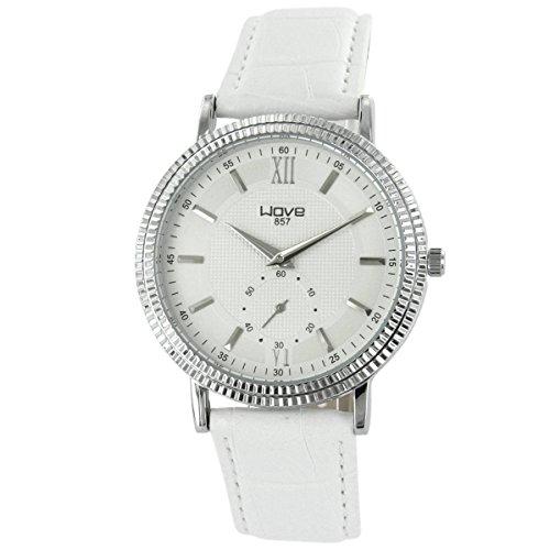 Wave zeigt Herren Armbanduhr Leder Weiss Wave 1624