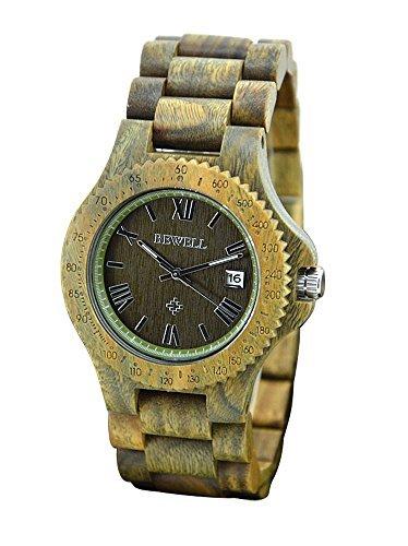 topwell gruen Holz Armbanduhr verstellbar gruen Uhren mit Datum Kalender fuer Mann Weihnachten Geschenke Geburtstag Jahrestag Geschenke