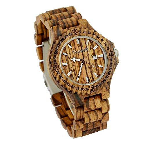 bewelll Herren w023 a3 Zebrano Analog japanische Miyota Quarz Holz Armbanduhr