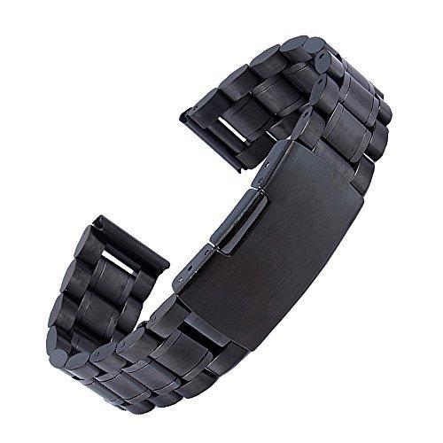 topwell Stahl Metall Armband 22 mm mit geradem Ende feste Kettenglieder Faltschliesse schwarz