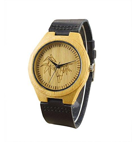 topwell Bambus Uhr mit Schwarz Leder Band Bambus Lederband