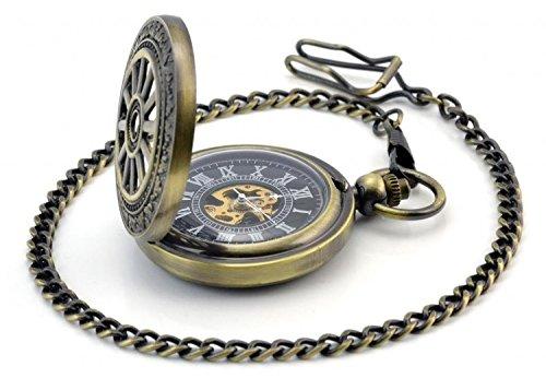 topwell Retro Rad Carving Pocket roemischen Ziffern Pocket Watch mit Watch Classic Skelett Mechanische Bewegung Hand