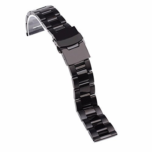 topwell schwarz 22 mm Edelstahl Armband watchbands Armbanduhr Kettenglieder gerades Ende