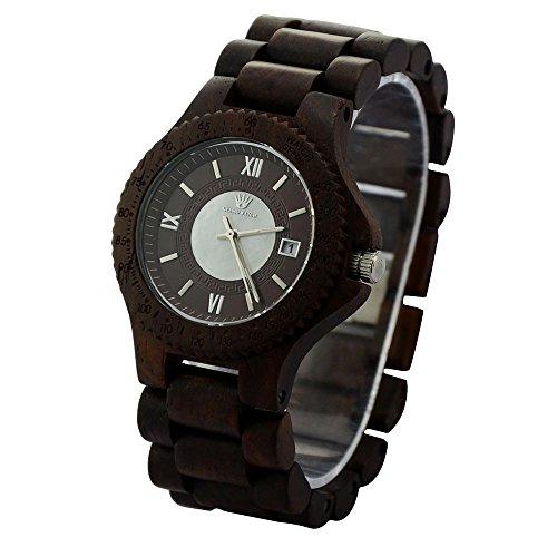 topwell rund Kaffee Farbe Holz Uhren Geschenk Holz Armbanduhren fuer Herren mit Datum Kalender
