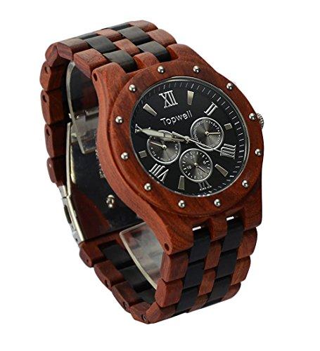 topwell Herren Datum Zeit Woche 24 Stunden Holz Uhren Armbanduhr Rund Holz Quarz Geschenk Uhren