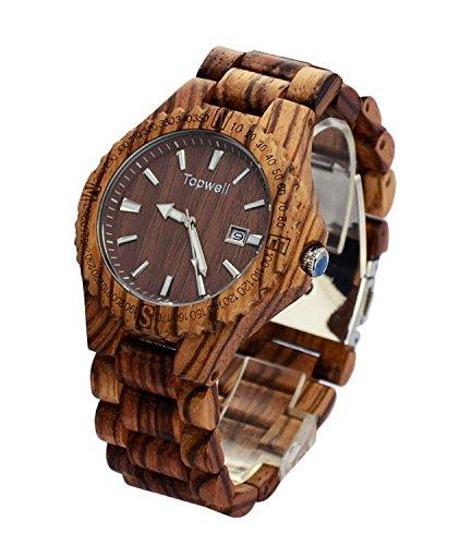 topwell aus Holz mit Holz verstellbar Band Armbanduhr Zebra Holz Uhren mit Datum